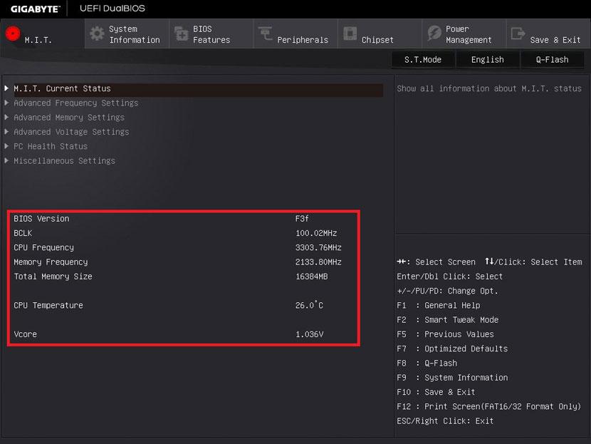 M.I.T. Current Status в BIOS gigabyte